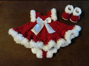 Kit Vestido Mamae Noel Em Croche Natal Rn A 1 Ano