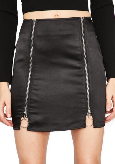 Falda Negra Falda Corta Elegante Con Cierres Tallas
