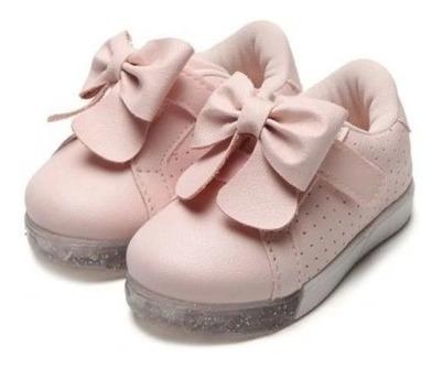 Tênis Infantil Pampili Baby Rosa Bale Com Luz 471.033