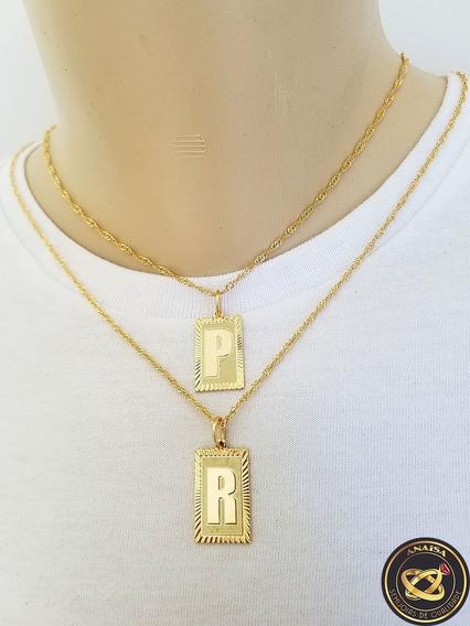 Pingente Letra Inicial P,r + Corrente Folheado Ouro. C1ppr22