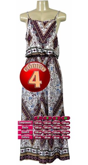 Vestido Longo Estampado Feminino De Viscose Alcinha De Couro
