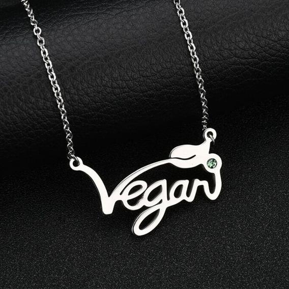 Colar + Pingente Vegan Em Aço Inox Vegano Vegetariano