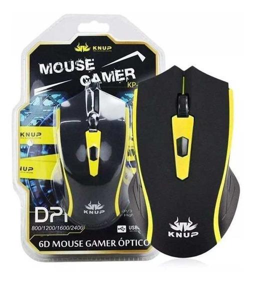 Mouse Gamer Com Fio Led 6 Botões 2400dpi Usb Knup Kp-v24