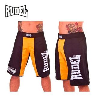 Bermuda Academy Rudel Muay Thai Amarela Preta Musculação Mma