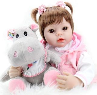 Muñecas Realistas De Vinilo De 55 Cm Bebe + Hipopotamo