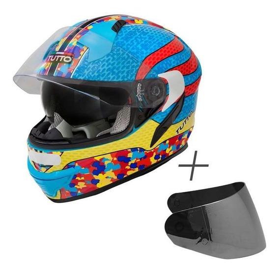 Capacete Tutto Racing Multicolor (c/ Viseira Solar) Azul S2r