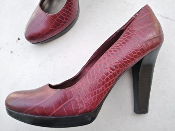 Zapatos Mujer Taco 39.5 Eco Bordo