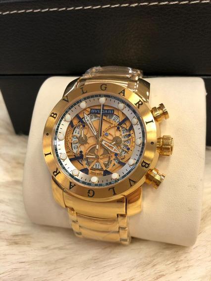 Relógio Tgt8585 Masculino Bv Iron Man Dourado Frete Gratis