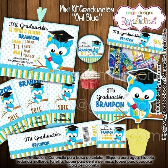 Kit Imprimible Diplomas Candy Egresados Buhos Nene Kdkt0195