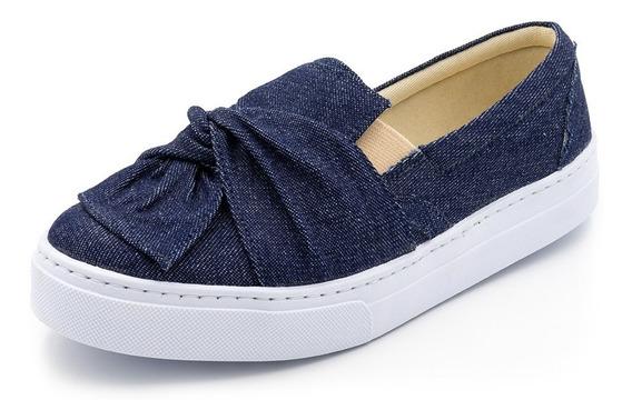 Tenis Feminino Casual Slip On Laço Jeans