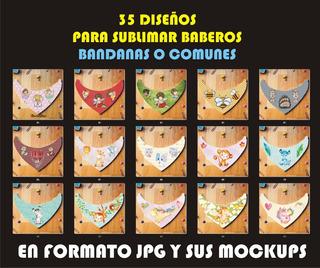 Kit 35 Diseños Baberos Bandanas Para Sublimar Sublimacion