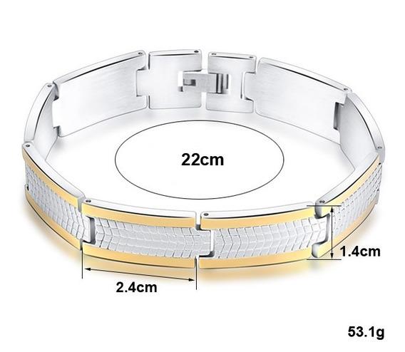Pulseira Bracelete Unissex Aço Inox + Folheado Ouro 18k M14