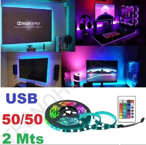 Imagen 1 de 10 de Luces Led 2 Metros Usb Tv/pc + Control Remoto