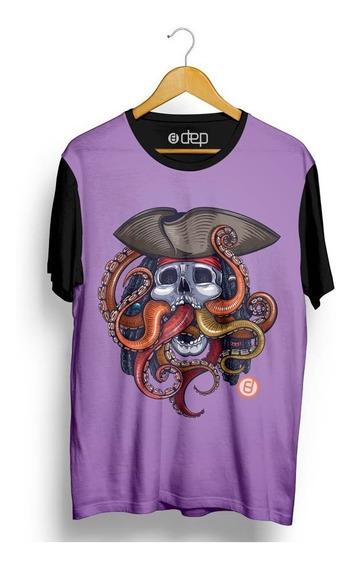 Camiseta Dep Caveira Pirata Roxa
