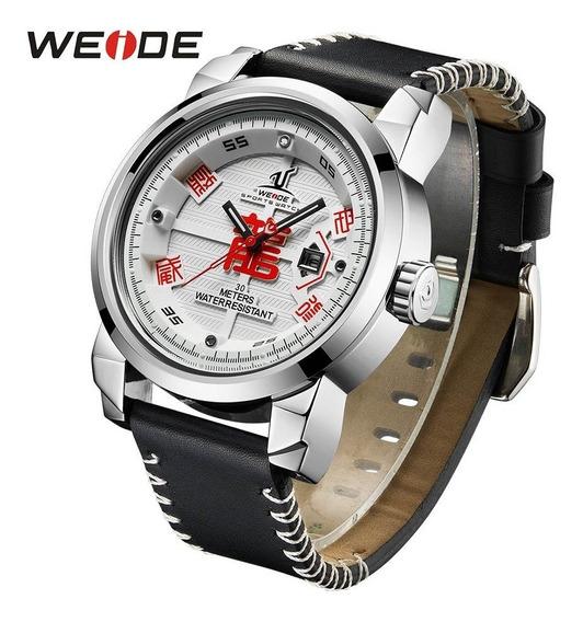 Relógio Masculino Correia De Couro Weide Original