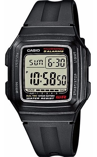 Reloj Casio F201 Despertador 5 Alarmas Luz Nuevo Y Original