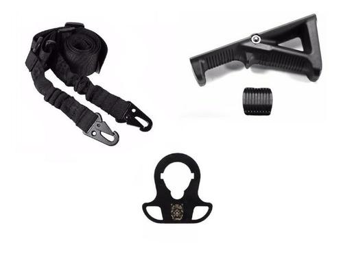 Bandoleira 2 Ponto + Zarelho Metal M4 + Grip Angular