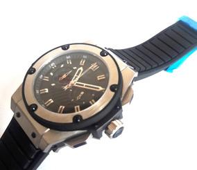 Relógio Hiblo Luxo Bang Prata Cronógrafo Silicone Promoção