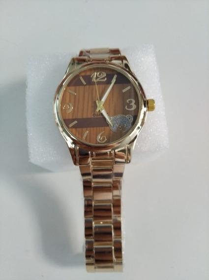 Relógio Dourado Feminino Maen 03 + Caixa E Espuma Protetora