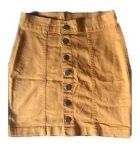 Saia Jeans Cintura Alta Botões - Botão Frontal Frente -verão