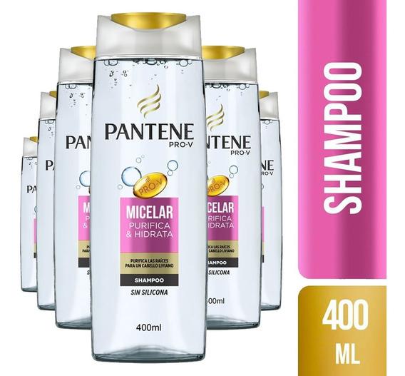 Pack De 6 Shampoo Pantene Micelar Purifica & Hidrata 400ml
