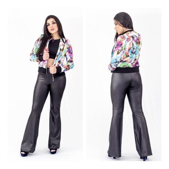 Jaqueta Estampada + Calça Flare Super Promoção Moda Feminina
