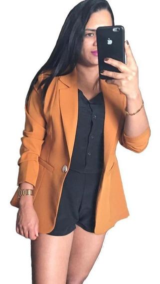 Blazer Terninho Casaco Alfaiataria Feminino S/forro: Barato