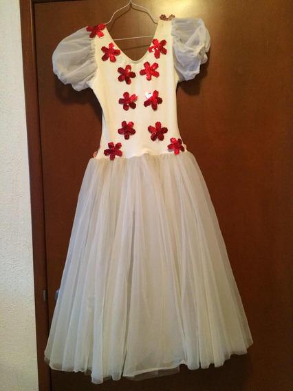 Vestido De Ballet P/niñac/ Flores Bordado En Lentejuela Roja