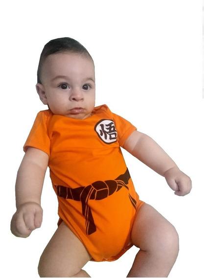 Body Bebê Son Goku Infantil Dragon Ball Z Infantil P, M E G