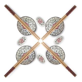 Set Sushi X 4 + Palillos Flores Rosa 9,8x3 Cm