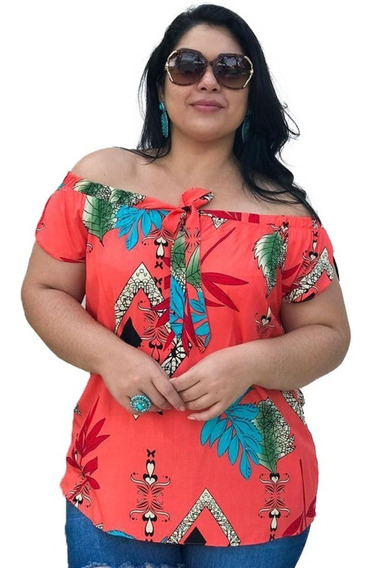 Blusa Feminina Plus Size Ciganinha Estampada Ombro A Ombro