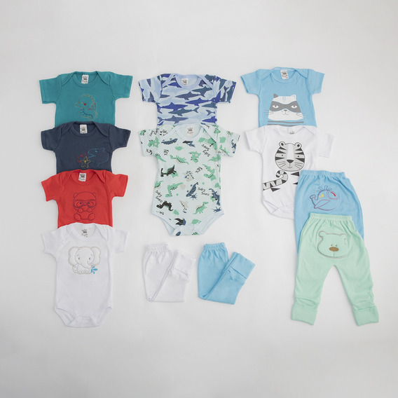 Kit C/6 Roupas Enxoval Bebê Maternidade Masculino Menino(a)