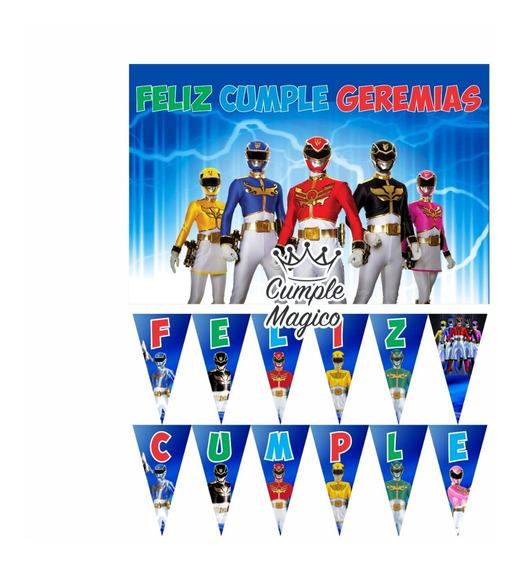 Power Rangers Cartel Y Banderin Personalizado Cumpleaños