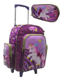 Mochila Unicornio Pony Estojo Escolar Infantil Rodinha 2018