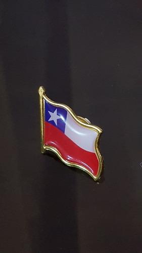 Imagen 1 de 10 de 12 X Piocha, Pin, Bandera Chilena Metálica, Botón, Chile