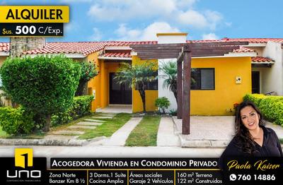 Linda Casa En Alquiler, Condominio Casa Club Norte