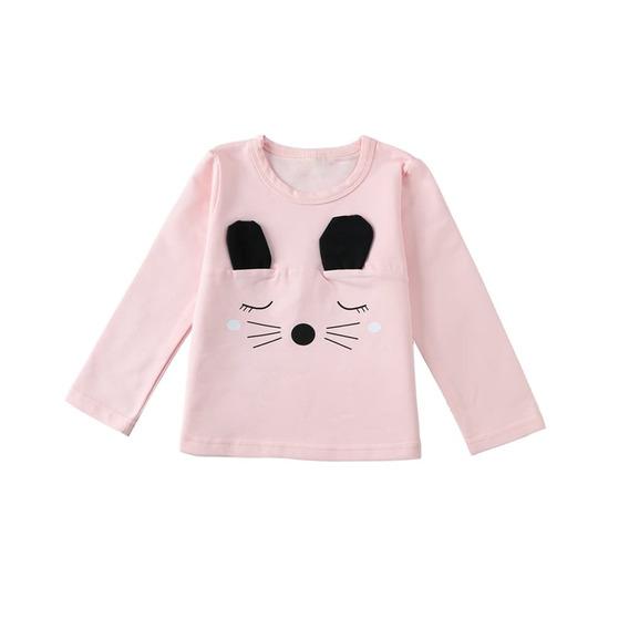 Moda Niños Bebé Niña Algodón T - Camisa Rosa 5