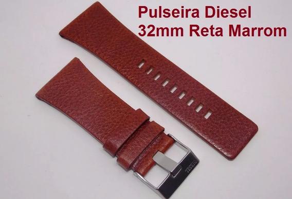 Pulseira Diesel 32mm Marrom Havana Couro Dz7249 Dz1275