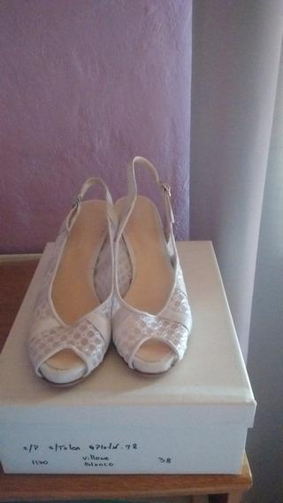 Hermosas Sandalias Blancas Con Villone