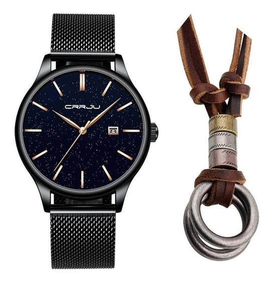 Relógio Masculino Social Luxo Crrju Metálico + Colar Argolas