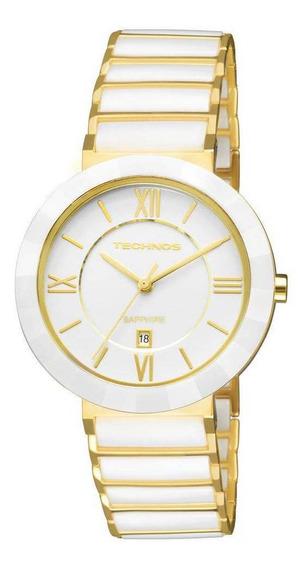 Relógio Feminino Technos Ceramic 2015ce/4b Dourado/branco