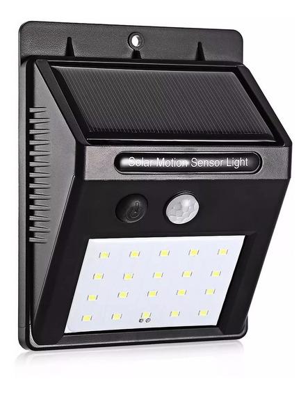 Luminária Solar Parede 24 Led Sensor Movimento Fotocélula