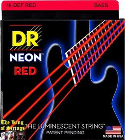 Encordoamento P/ Baixo De 4 Cordas Dr Neon - Vermelha .45