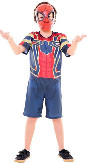 Marvel Guerra Infinita Fantasia Homem Aranha Curta Rubies