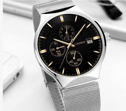 Relógio Pulso - Guanqin 42mm Quartzo - Vidro Hardlex