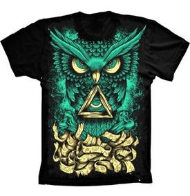 Camiseta Básica 3d Full Roupa Psicodélica Coruja Unissex