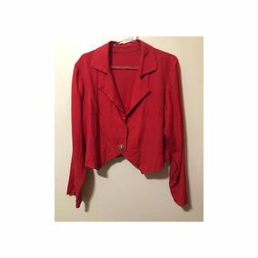 Blazer Casaqueto Cropped Vermelho Vintage G Linho Misto