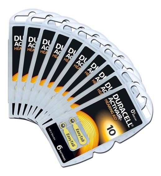 60 Baterias Pilhas Aparelho Auditivo Duracell 10 Pr70