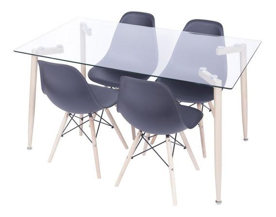 Conjunto Mesa Retangular Glass Com 4 Cadeiras Eames Preta