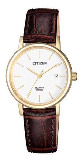 Relógio Citizen Feminino Dourado Couro Eu6092-08a Tz28486b